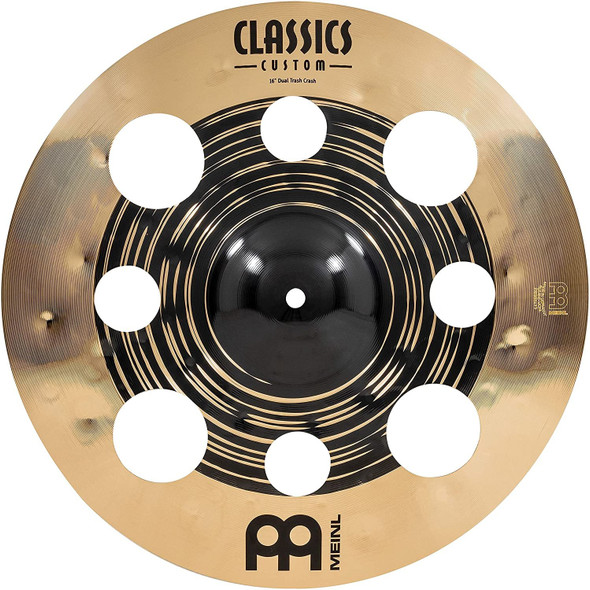 """Meinl Cymbals Classics Custom Dual 16"""" Trash Crash Cymbal with Holes, Dark and Brilliant Finish — Made in Germany — for Rock, Metal and Fusion, 2-Year Warranty, (CC16DUTRC)"""