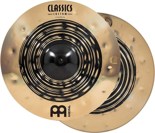 """Meinl Cymbals Classics Custom Dual 14"""" Hihat Cymbal (Pair), Dark and Brilliant Finish — Made in Germany — for Rock, Metal and Fusion, 2-Year Warranty, (CC14DUH)"""