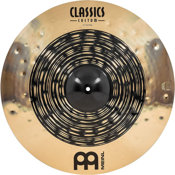 """Meinl Cymbals Classics Custom Dual 22"""" Ride Cymbal, Dark and Brilliant Finish — Made in Germany — for Rock, Metal and Fusion, 2-Year Warranty, (CC22DUR)"""