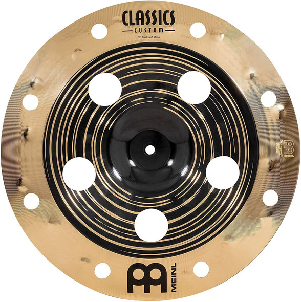 """Meinl Cymbals Classics Custom Dual 16"""" Trash China Cymbal with Holes, Dark and Brilliant Finish — Made in Germany — for Rock, Metal and Fusion, 2-Year Warranty, (CC16DUTRCH)"""