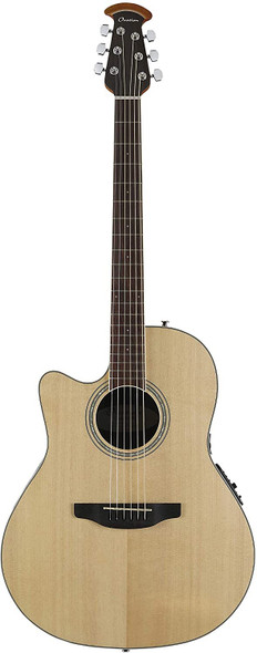 Ovation Celebrity Collection 6 String Acoustic-Electric Guitar, Left, Natural, Mid Depth Body (CS24L-4)