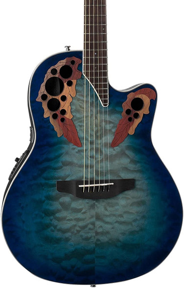 Ovation Celebrity Collection 6 String Acoustic-Electric Guitar, Right, Regal to Natural Quilted, Super Shallow Body (CE48P-RG)