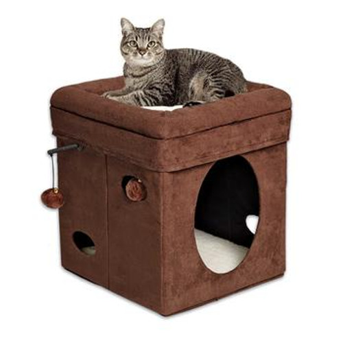 Nuvo Cat Cube House Brown 15in