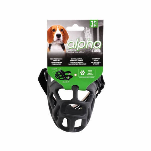 This is a rubber cage muzzle with adjustable woven fabric straps.