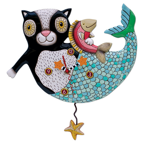 """This whimsical clock features:  •    measures 12.25″ x 12″ •    hand-painted starfish hands •    swinging starfish pendulum •    cast in resin, finished by hand •    requires """"AA"""" battery"""