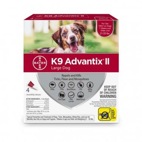 K9 Advantix II Lg 21-55lbs 4pk