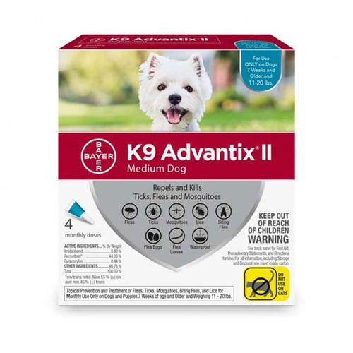K9 Advantix II Med 11-20lbs 4pk