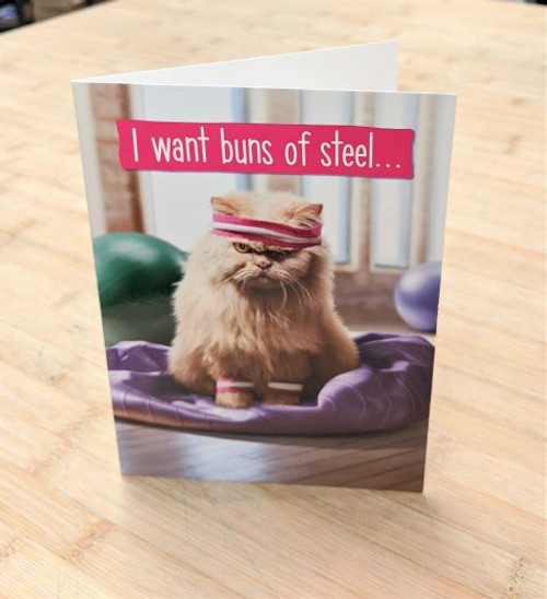 Avanti Card Cat Funny Buns of Steel