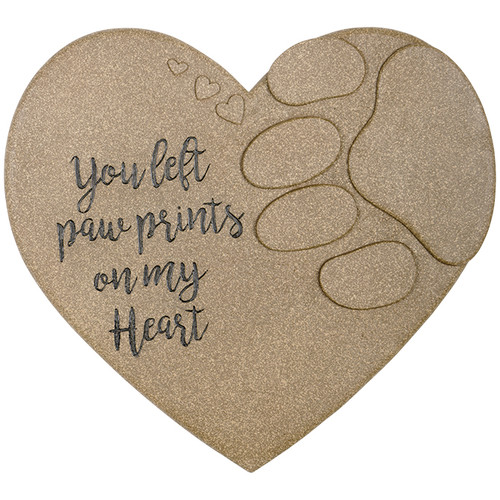 """Our pet memorial stepping stones are cast in resin to emulate the look of sand stone. They are hand painted and feature a keyhole hanger in the back for display. Displays nicely on our universal low level stake item # 13014.  W: 11"""" D: 0.625"""""""