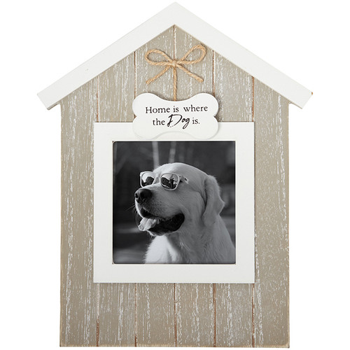 """This frame is comprised of wood composite, glass, an easel back, and a sawtooth hanger. Holds a 4"""" x 4"""" photo."""