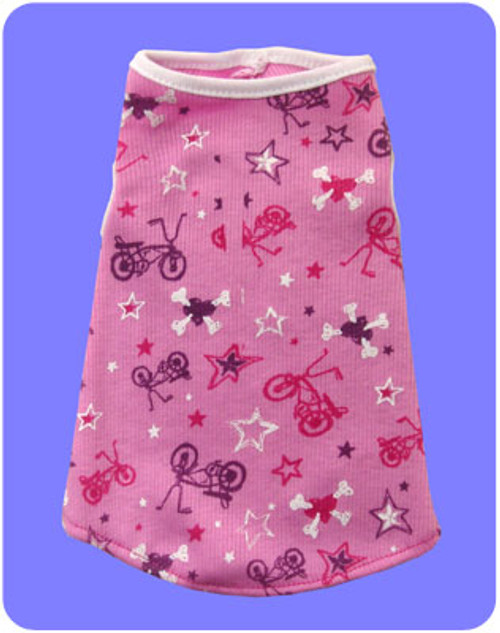 MADE IN USA OF RECLAIMED ECO FABRIC - XXS only. Cute cotton rib tank with bicycle & skull /crossbone print!