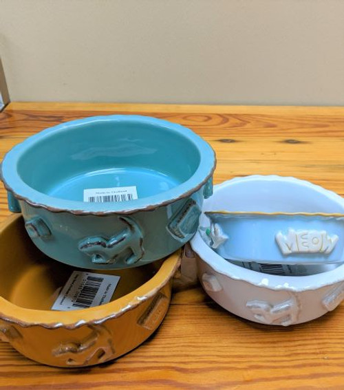 Carmel Ceramica Dog Bowl French White Med