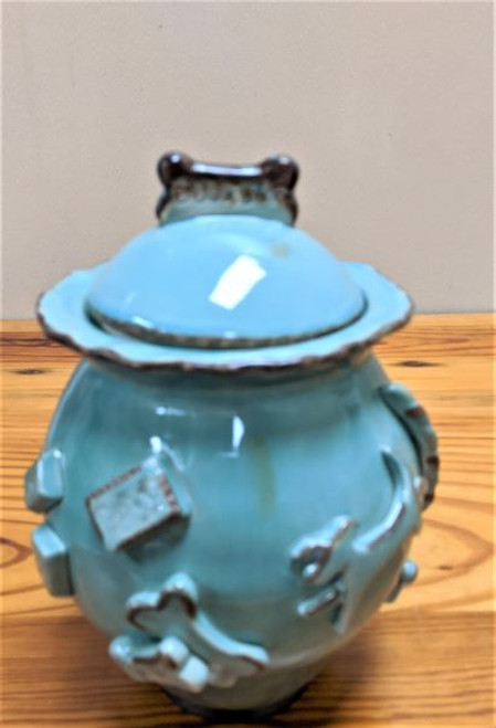 Carmel Ceramica Dog Treat Jar Aqua