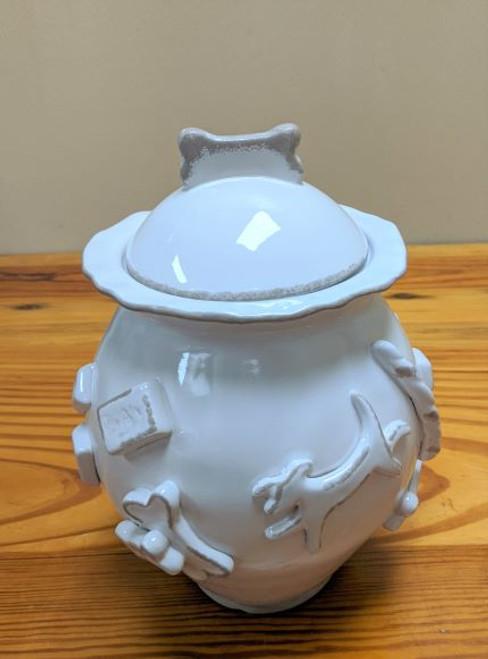 Carmel Ceramica Dog Treat Jar French White