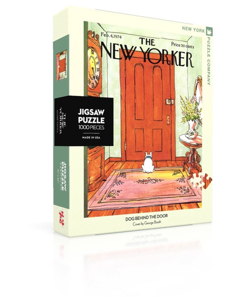 "Product Type Puzzle Collection New Yorker Piece Count 1000 Minimum Quantity 2 Casepack Quantity 6 Artist George Booth Age Rating 13+ Description New Yorker Cover by Artist George Booth, originally published on February 4th, 1974 1000 Piece Jigsaw Puzzle Finished Puzzle Size: 19.25""x26.625"" Linen Style Finish to reduce glare Made in USA Recommended Age: 13+ Years"