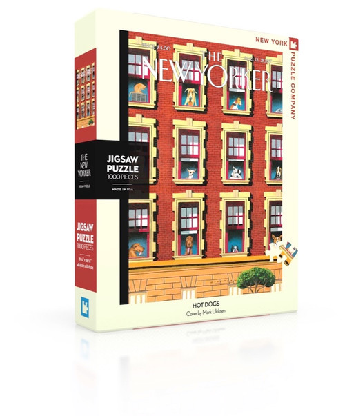 "Product Type Puzzle Collection New Yorker Piece Count 1000 Minimum Quantity 2 Casepack Quantity 6 Artist Mark Ulriksen Age Rating 7+ Description New Yorker Cover by Artist Mark Ulriksen, originally published on August 13rd, 2007 1000 Piece Jigsaw Puzzle Finished Puzzle Size: 19.25""x26.625"" Linen Style Finish to reduce glare Made in USA Recommended Age: 7+ Years"