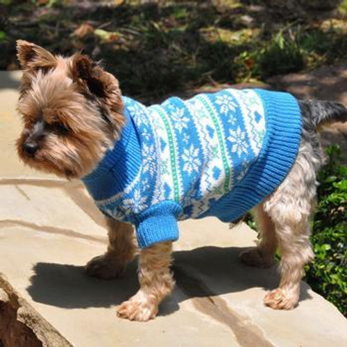 Doggie Design Snowflake Hearts Sweater Blue