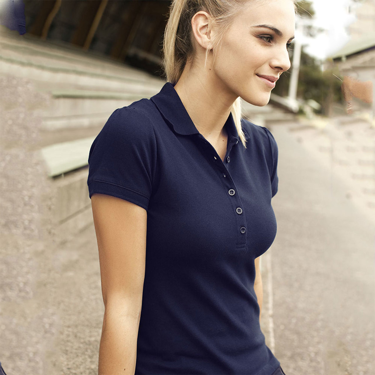 fbb7f6141e Click to zoom in. womens fashion plain polo shirt ...