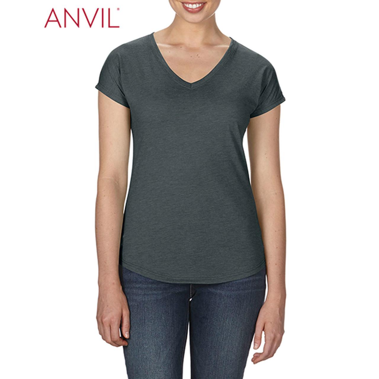 ANVIL LADIES T-SHIRT PLAIN BASIC TOP SEMI FITTED HEATHER COLOURS WOMEN/'S XS-2XL