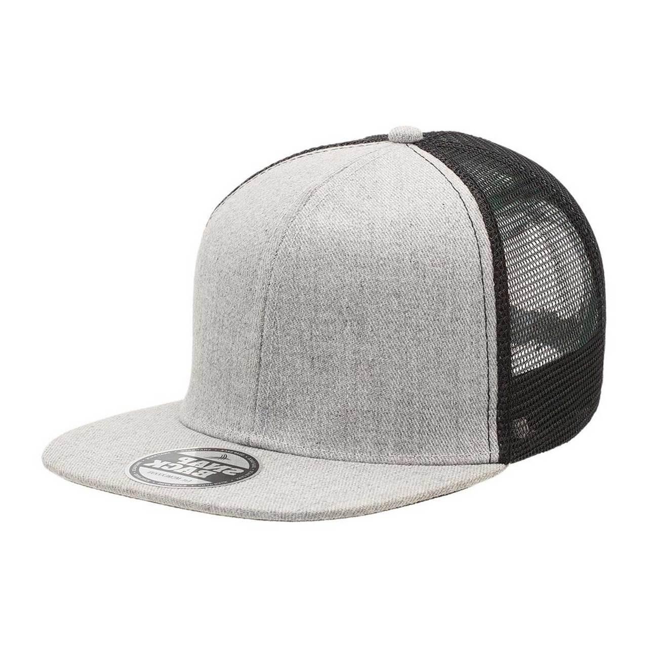 7005dc8da4633 Wholesale Plain Heather Flat Peak Trucker Caps . Bulk Buy Hats Online