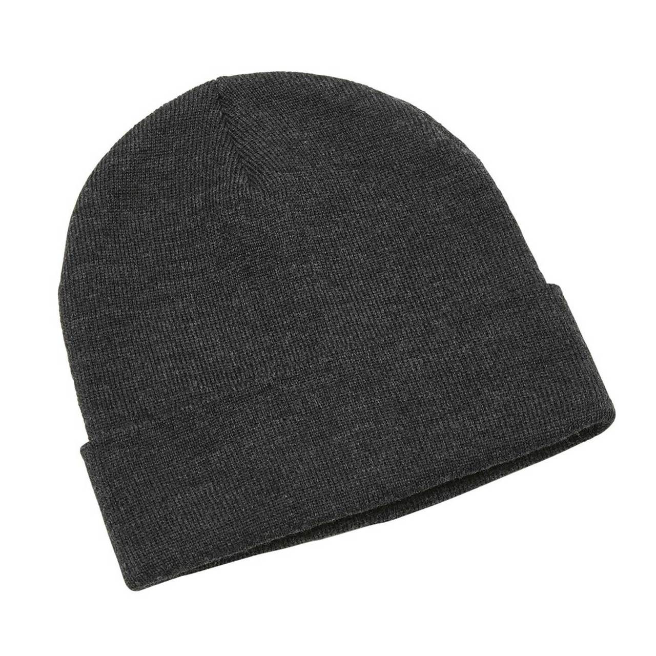 4955e02776430 Plain Heather Knit Beanie with Roll Up Cuff