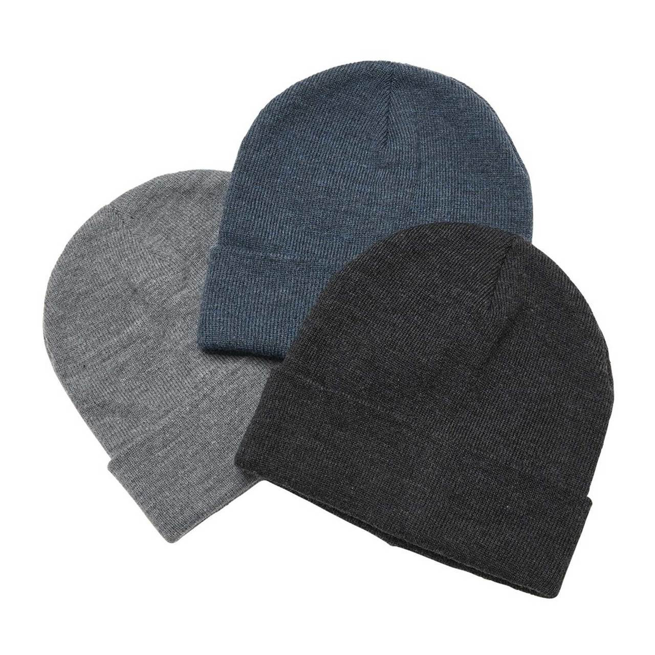 official photos 53135 6fdb5 Plain Heather Knit Beanie with Roll Up Cuff   Wholesale Hats   Caps Online