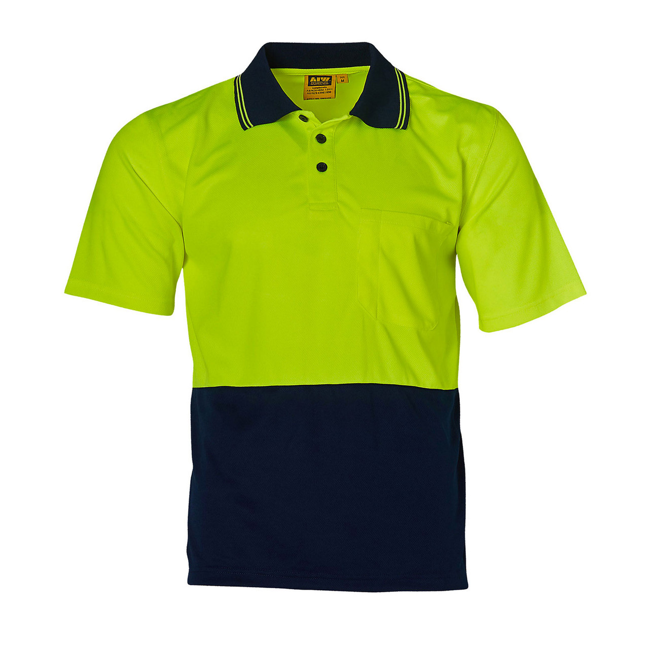 NEW MENS HI VIS COOLDRY CONTRAST POLO SHORT SLEEVE WORK WEAR FLURO T-SHIRT TOP