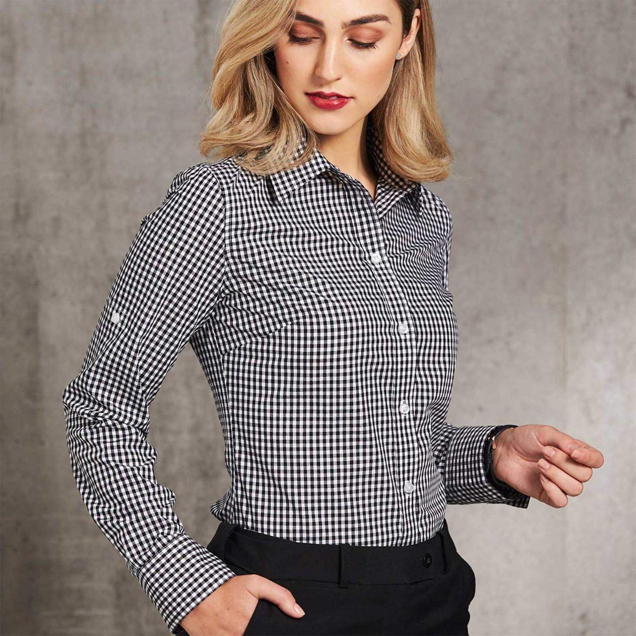 Ladies Gingham Checkered Short Sleeve Shirt Shop Business Shirts Online
