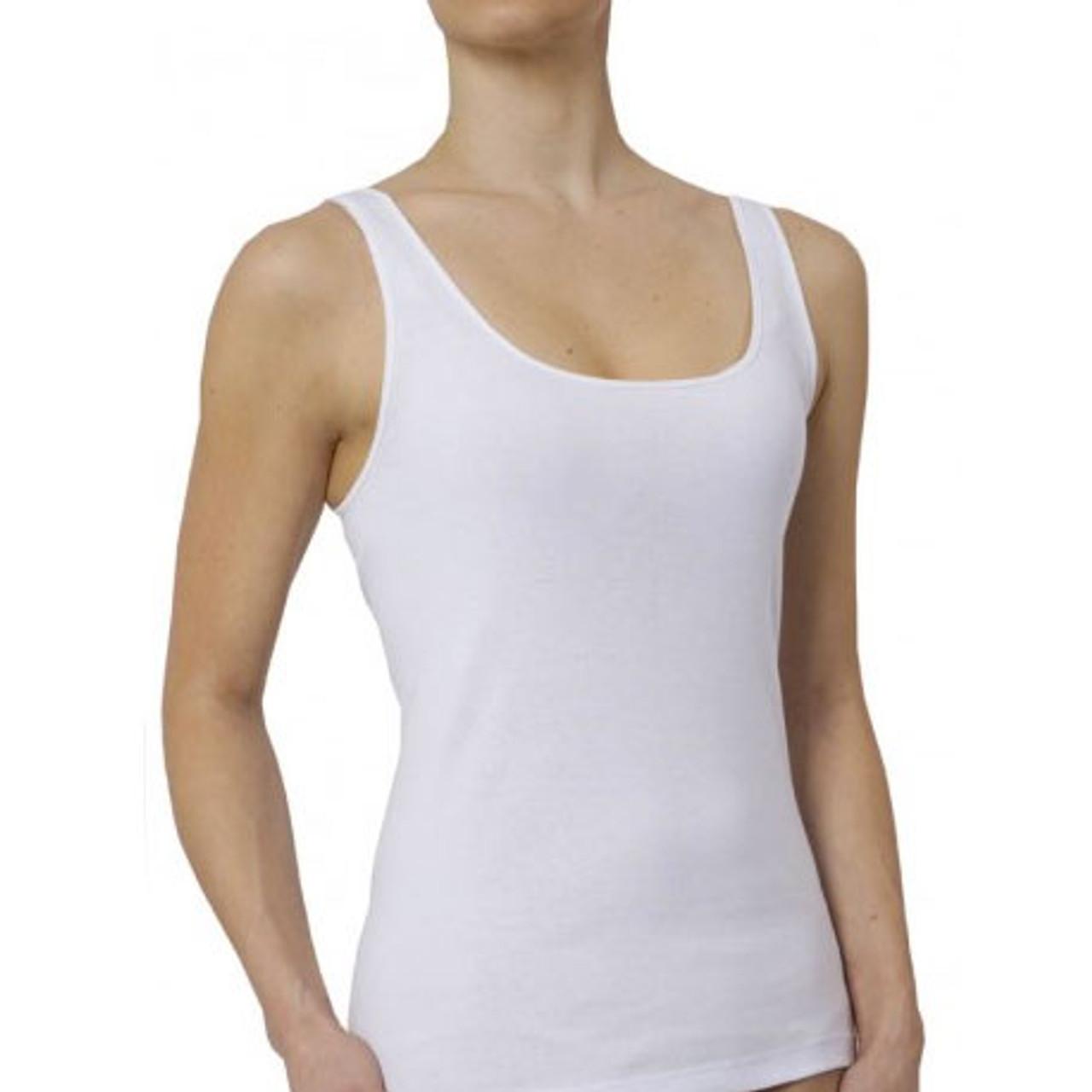 M Luxury 100/% Cotton Womens Short Sleeve Stretch Cami White XL