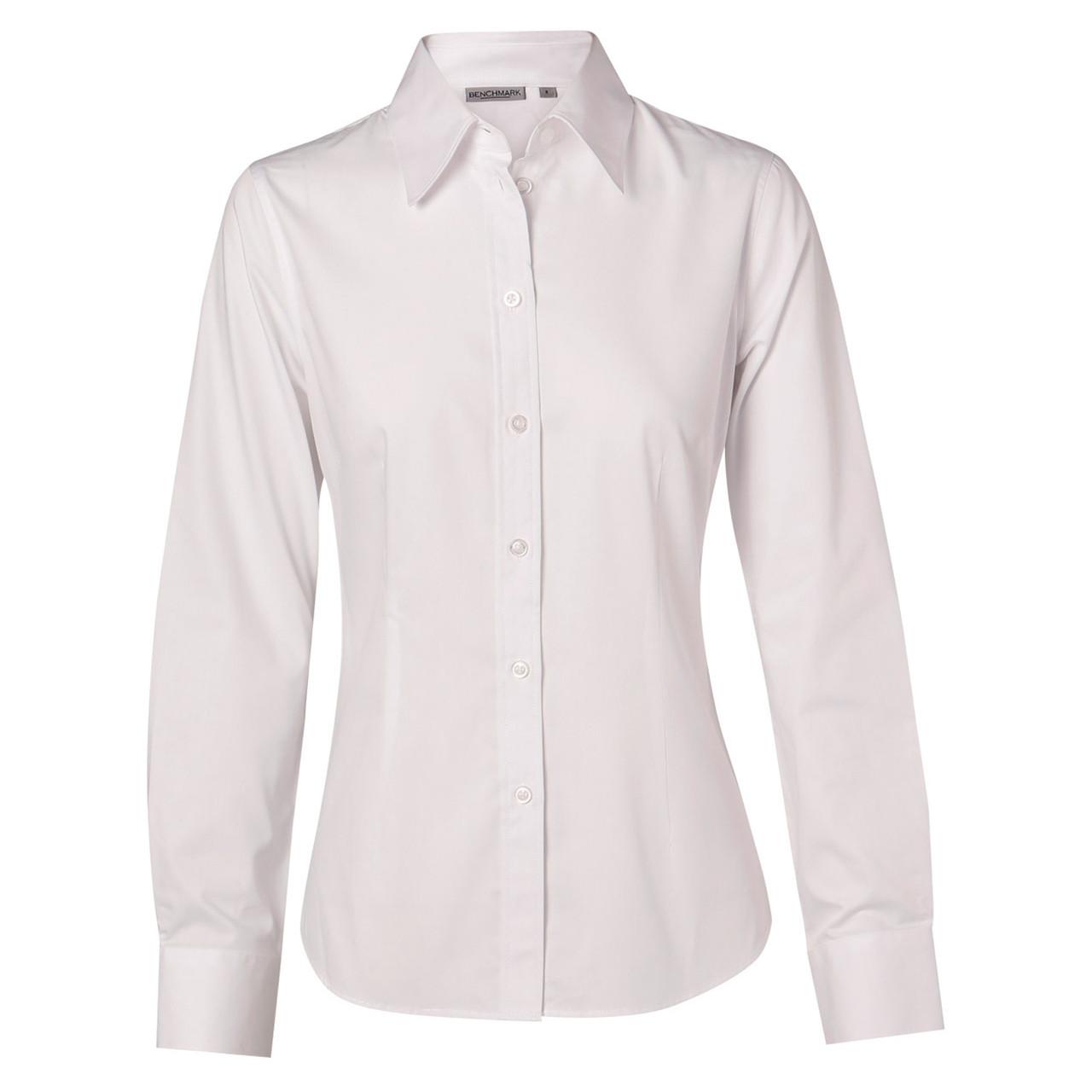 Benchmark Ladies/' Cotton Poly Stretch Long Sleeve Shirt Single Button SquareCuff