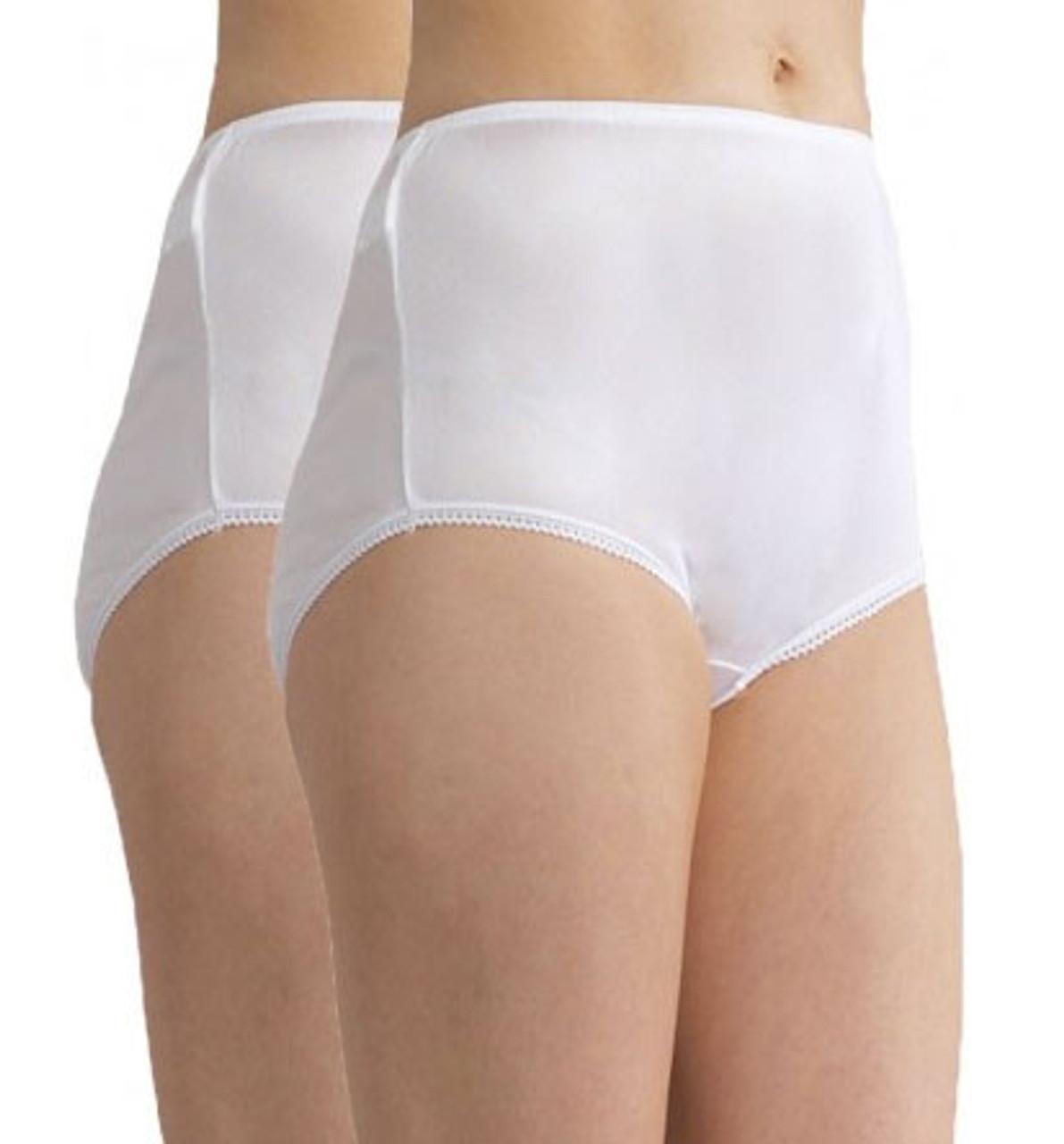 Women/'s Seam Free White Cotton Full Briefs with Stretch Elastane Sizes 10 to 24
