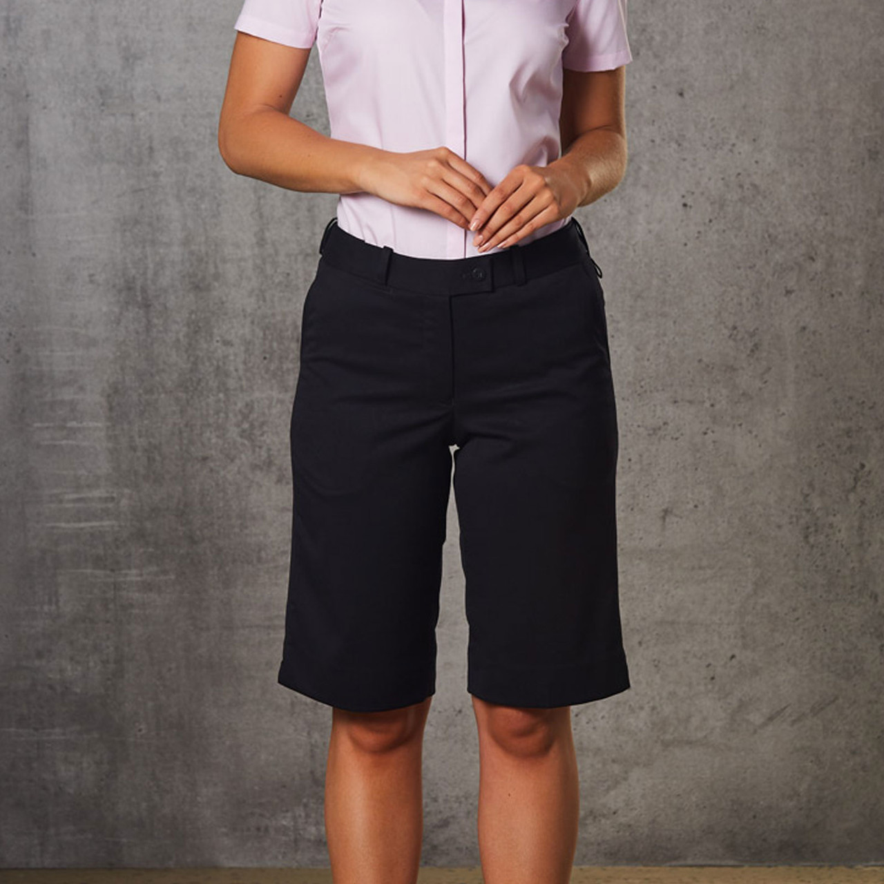 d8619902b knee length shorts | stretch womens short | blank ladies corporate clothing  | Plus Size Pants