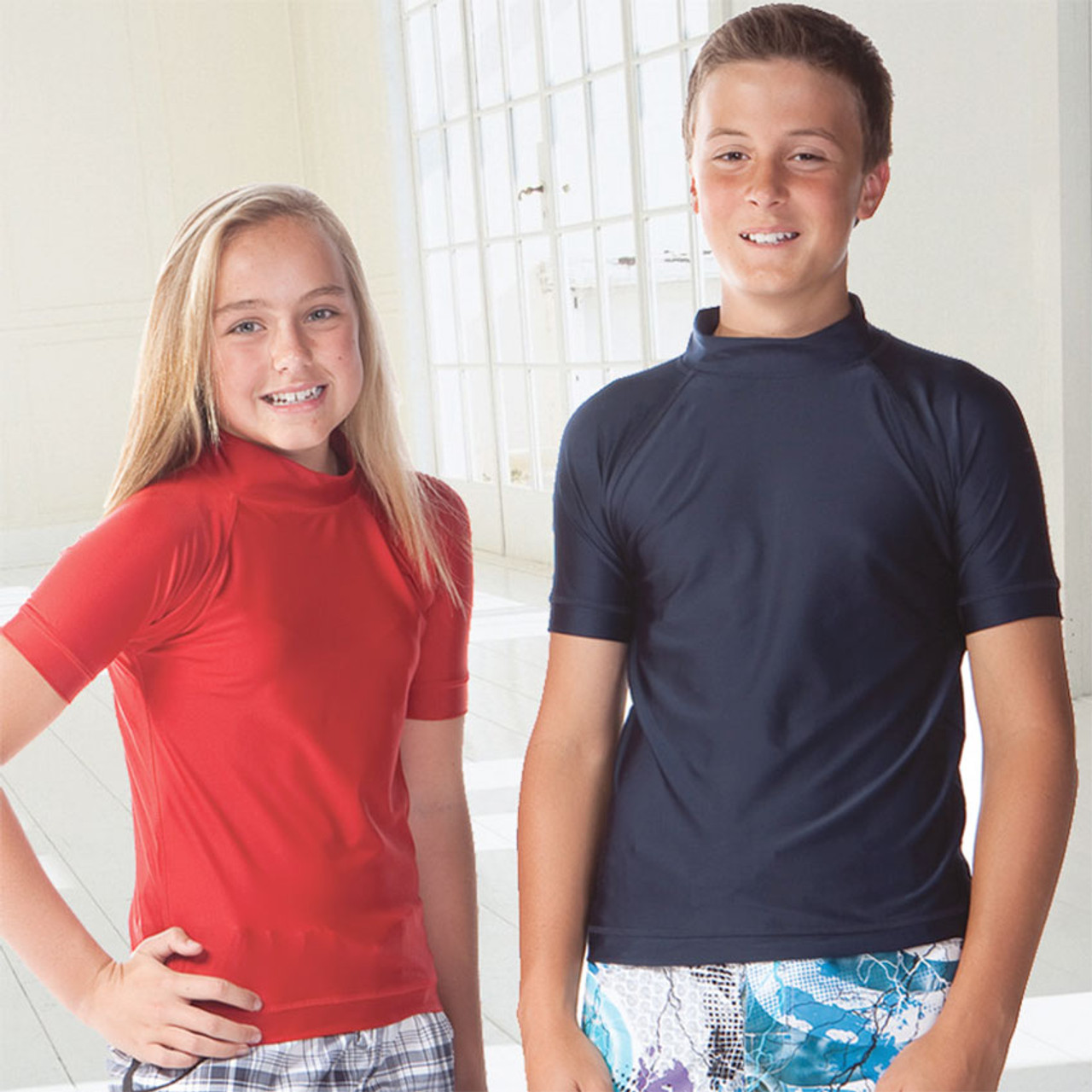89f0676037 BONDI | kids short sleeve rashies | surf & beach wear | plain childrens  swim gear