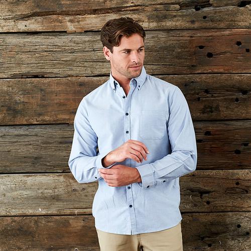 Mens Garment Washed Oxford Shirt Long Sleeve Buy Online Bulk