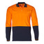 Orange+Navy | Mens Cotton Jersey Safety Long Sleeve Polo