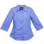 Plain Women business shirts 3/4 sleeves Blue