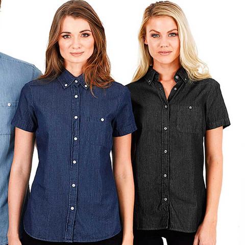 Vintage Gewone Korte Womens Mouwen Denim Shirts Zaken qSUzMVp
