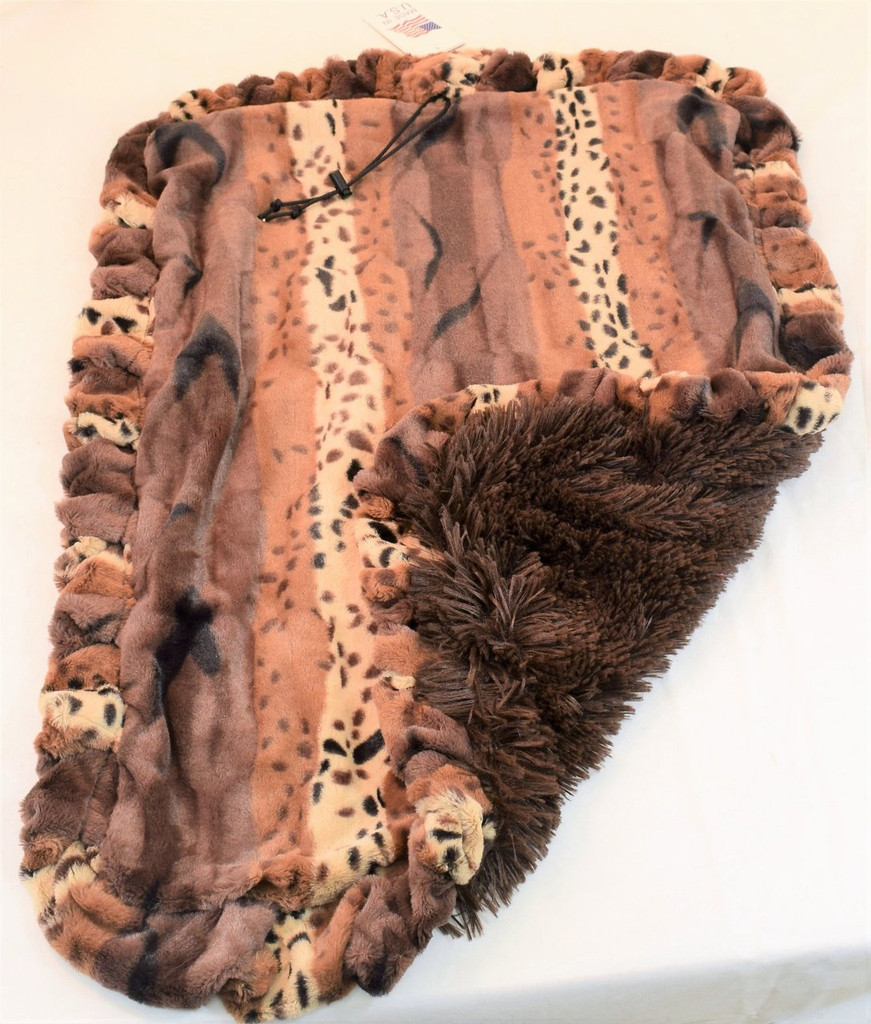 Exotic Fur Gold & Chocolate Shag Travel Bed/Blanket