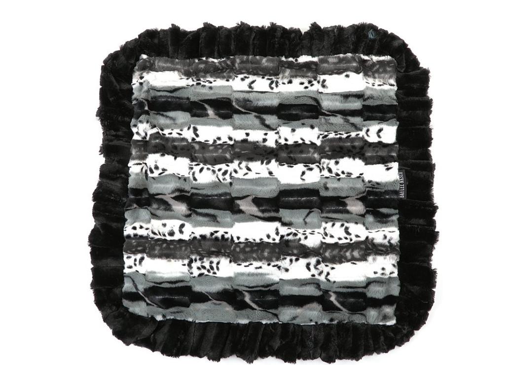Exotic Black with Grey & Grey Shag Blanket