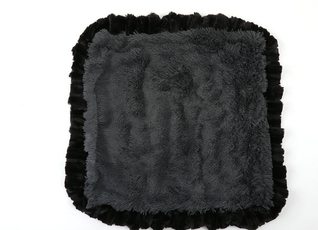 Exotic Black with Grey & Grey Shag Blanket