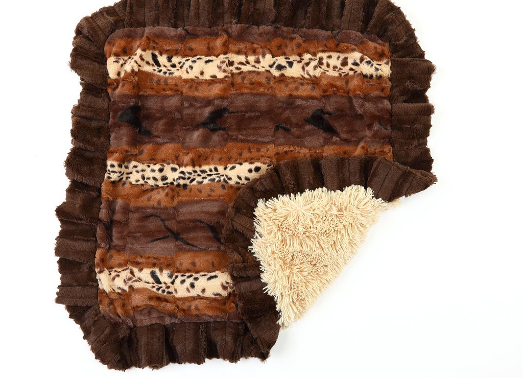 Exotic Fur Brown with Gold and Camel Shag Blanket
