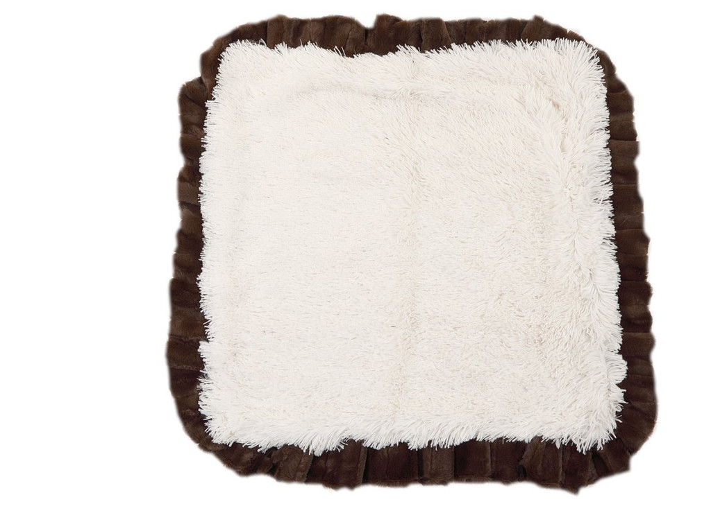 Snow Leopard with Brown Mink & Cream Shag Blanket