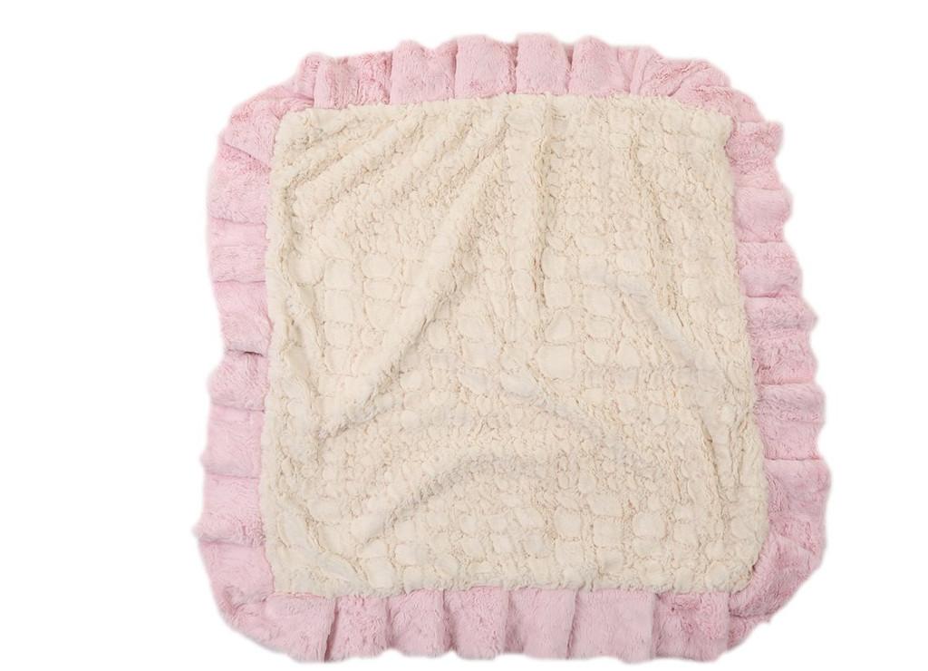 Light Pink Mink with Cream Crocodile Blanket