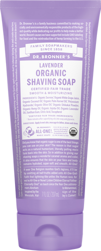 Dr Bronner's Organic Fair Trade Shaving Soap Gel Lavender