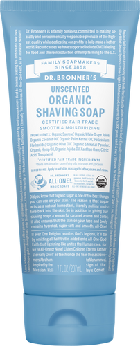 Dr Bronner's Organic Fair Trade Shaving Soap Gel Unscented
