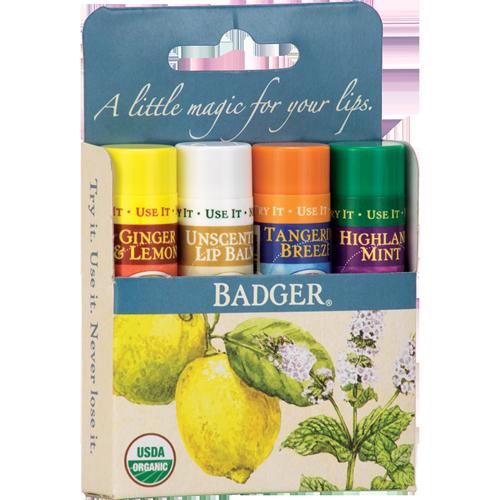 Badger Balm Classic Lip Balm Blue Pack - 4 Pack