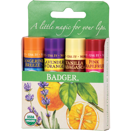 Badger Balm Classic Lip Balm Green Pack - 4 Pack