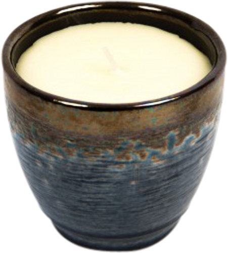 St Eval Candle Sea Salt Glazed Pot Grey