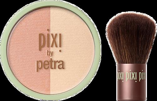 Pixi Beauty Blush Duo + Kabuki Brush - Peach Honey 10.21g