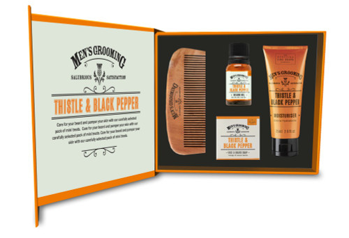 Scottish Fine Soaps Thistle & Black Pepper Face & Beard Care Box
